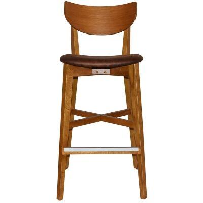 Rialto Commercial Grade Oak Timber Bar Stool, Fabric Seat, Bison / Light Oak