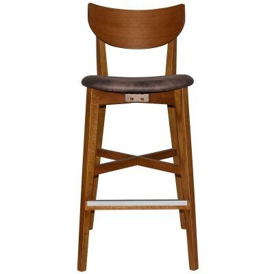 Rialto Commercial Grade Oak Timber Bar Stool, Fabric Seat, Donkey / Light Oak