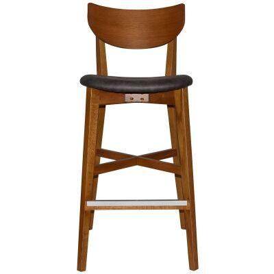 Rialto Commercial Grade Oak Timber Bar Stool, Fabric Seat, Slate / Light Oak