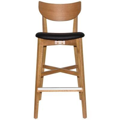 Rialto Commercial Grade Oak Timber Bar Stool, Vinyl Seat, Black / Light Oak