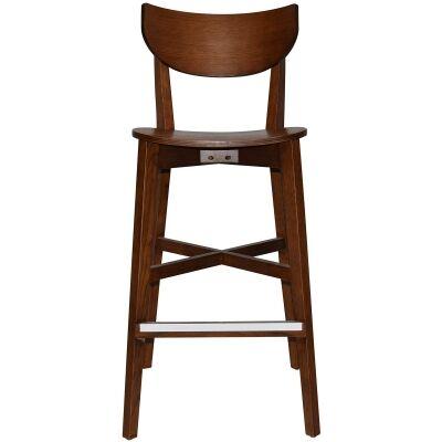 Rialto Commercial Grade Oak Timber Bar Stool, Timber Seat, Light Walnut