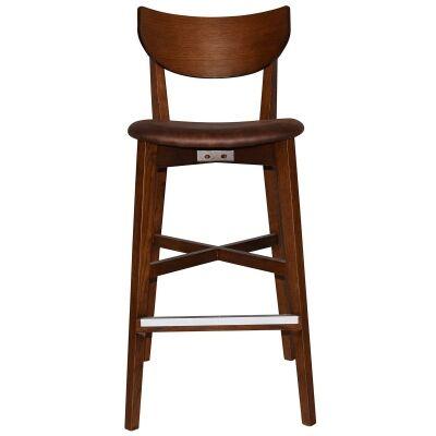 Rialto Commercial Grade Oak Timber Bar Stool, Fabric Seat, Bison / Light Walnut