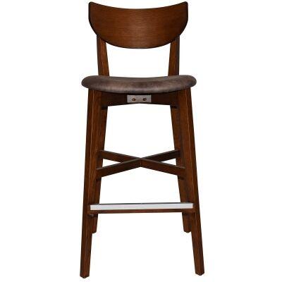 Rialto Commercial Grade Oak Timber Bar Stool, Fabric Seat, Donkey / Light Walnut
