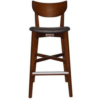 Rialto Commercial Grade Oak Timber Bar Stool, Fabric Seat, Slate / Light Walnut