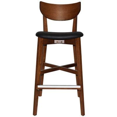 Rialto Commercial Grade Oak Timber Bar Stool, Vinyl Seat, Black / Light Walnut
