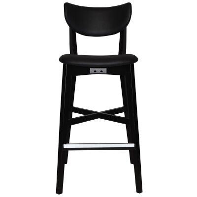 Rialto Commercial Grade Oak Timber Bar Stool, Vinyl Seat & Back, Black / Black