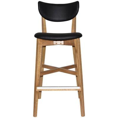 Rialto Commercial Grade Oak Timber Bar Stool, Vinyl Seat & Back, Black / Light Oak