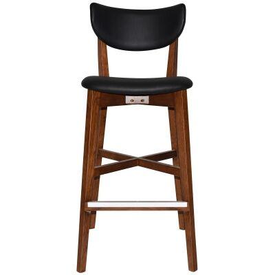 Rialto Commercial Grade Oak Timber Bar Stool, Vinyl Seat & Back, Black / Light Walnut