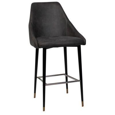 Stockholm Commercial Grade Fabric Bar Stool, Metal Leg, Slate / Black Brass