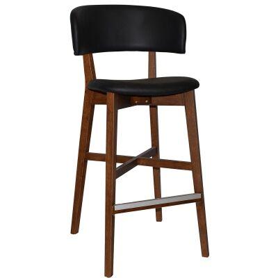 Torino Commercial Grade Oak Timber Bar Stool, Vinyl Seat & Back, Black / Light Walnut