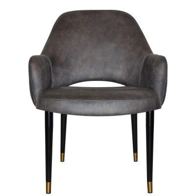 Albury Commercial Grade Fabric Tub Chair, Slim Metal Leg, Slate / Black Brass