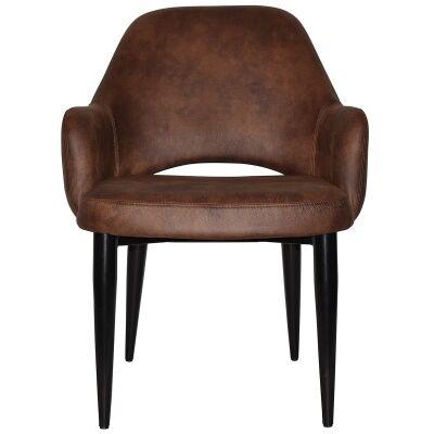Albury Commercial Grade Fabric Tub Chair, Metal Leg, Bison / Black