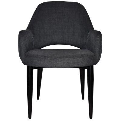Albury Commercial Grade Fabric Tub Chair, Metal Leg, Charcoal / Black