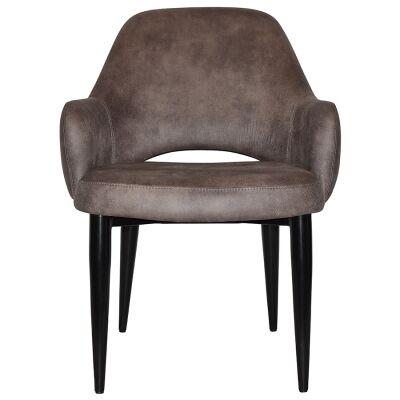Albury Commercial Grade Fabric Tub Chair, Metal Leg, Donkey / Black