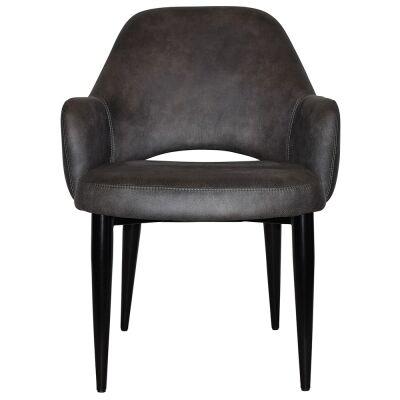 Albury Commercial Grade Fabric Tub Chair, Metal Leg, Slate / Black