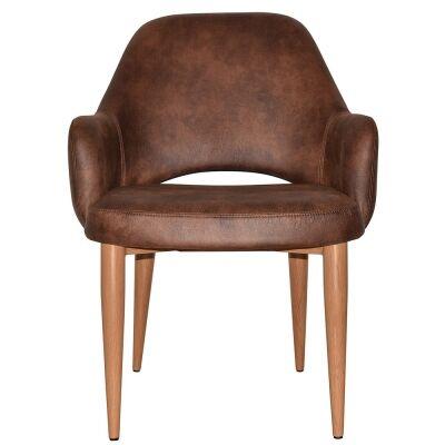Albury Commercial Grade Fabric Tub Chair, Metal Leg, Bison / Light Oak