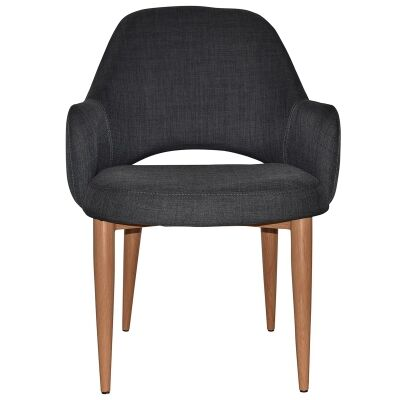 Albury Commercial Grade Fabric Tub Chair, Metal Leg, Charcoal / Light Oak