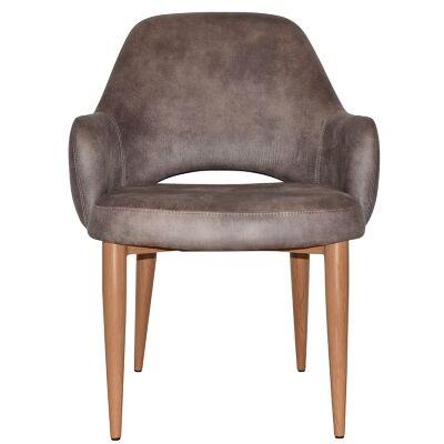 Albury Commercial Grade Fabric Tub Chair, Metal Leg, Donkey / Light Oak