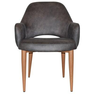 Albury Commercial Grade Fabric Tub Chair, Metal Leg, Slate / Light Oak