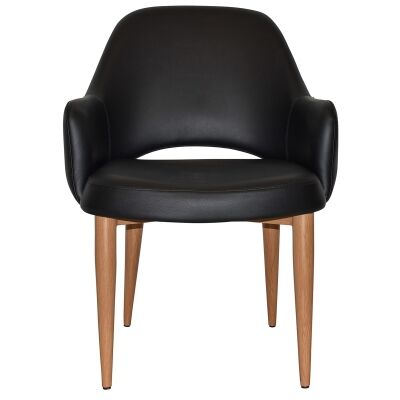 Albury Commercial Grade Vinyl Tub Chair, Metal Leg, Black / Light Oak