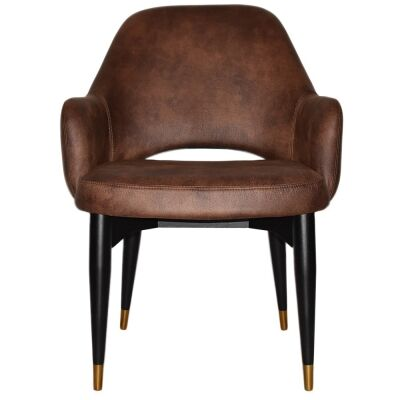 Albury Commercial Grade Fabric Tub Chair, Timber Leg, Bison / Black Brass