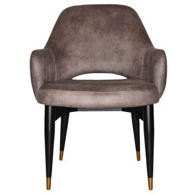 Albury Commercial Grade Fabric Tub Chair, Timber Leg, Donkey / Black Brass