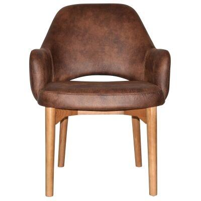 Albury Commercial Grade Fabric Tub Chair, Timber Leg, Bison / Light Oak