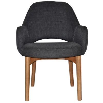 Albury Commercial Grade Fabric Tub Chair, Timber Leg, Charcoal / Light Oak
