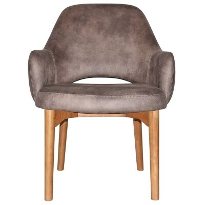 Albury Commercial Grade Fabric Tub Chair, Timber Leg, Donkey / Light Oak