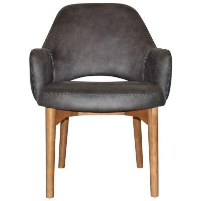 Albury Commercial Grade Fabric Tub Chair, Timber Leg, Slate / Light Oak
