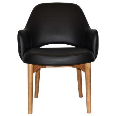 Albury Commercial Grade Vinyl Tub Chair, Timber Leg, Black / Light Oak