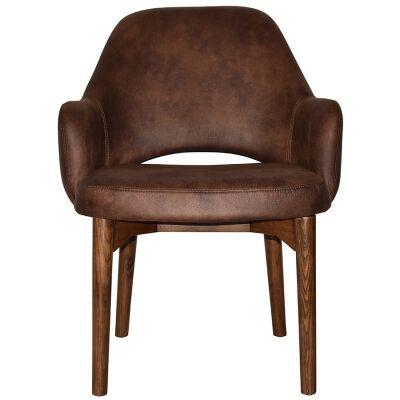 Albury Commercial Grade Fabric Tub Chair, Timber Leg, Bison / Light Walnut