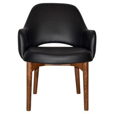 Albury Commercial Grade Vinyl Tub Chair, Timber Leg, Black / Light Walnut