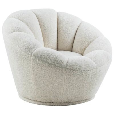 Chloe Faux Fleece Fabric Swivel Lounge Chair