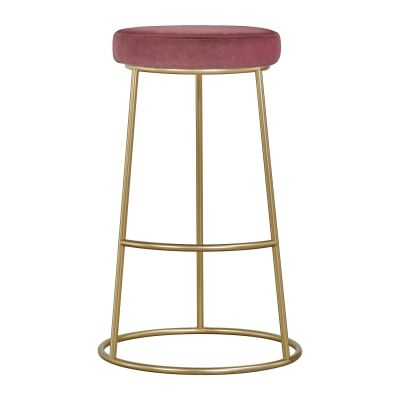 Xyla Metal Counter Stool, Pink Velvet Seat