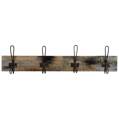 Perin Recycled Teak Timber & Metal Hanger, 4 Hook, Rustic Charcoal / Weathered Natural