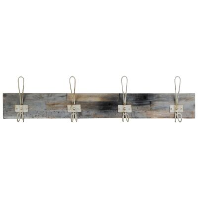 Perin Recycled Teak Timber & Metal Hanger, 4 Hook, Rustic White / Weathered Natural