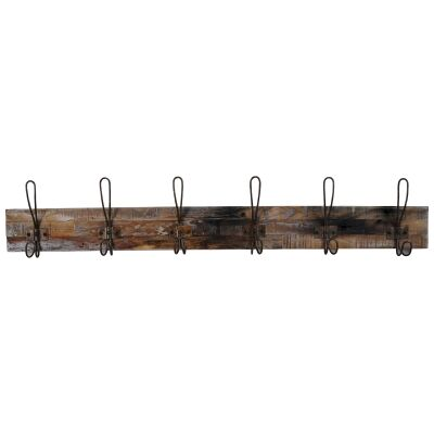 Perin Recycled Teak Timber & Metal Hanger, 6 Hook, Rustic Charcoal / Weathered Natural