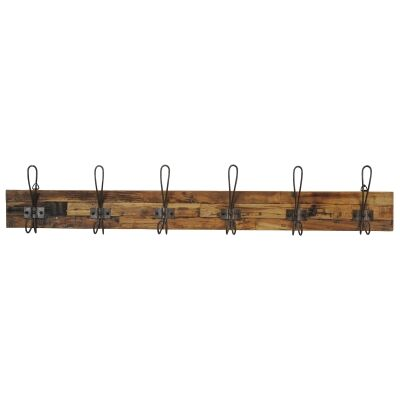 Perin Recycled Teak Timber & Metal Hanger, 6 Hook, Rustic Charcoal / Sandblasted Natural