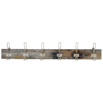 Perin Recycled Teak Timber & Metal Hanger, 6 Hook, Rustic White / Weathered Natural