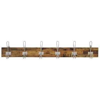 Perin Recycled Teak Timber & Metal Hanger, 6 Hook, Rustic White / Sandblasted Natural