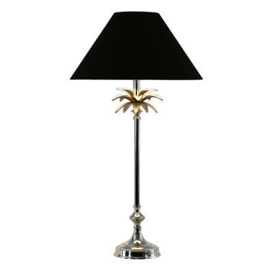 Ira Metal Base Table Lamp, Nickel / Black
