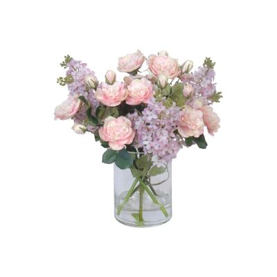 Artificial Lilac & Rose Bouquet in Glass Vase