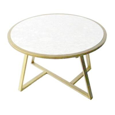 Lora Marble Top Round Coffee Table, 80cm