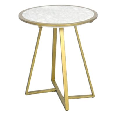 Lora Marble Top Round Lamp Table