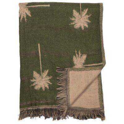 Palm Cotton Throw, 150x125cm, Green
