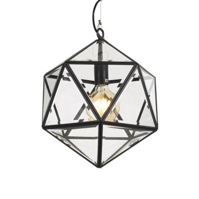 Lazlo Metal & Glass Pendant Light, Small, Black