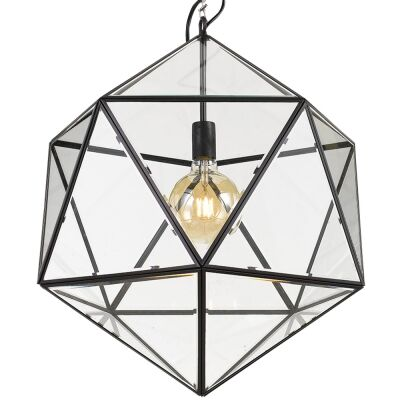 Lazlo Metal & Glass Pendant Light, Large, Black