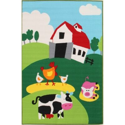 Barn Yard Farm Kids Rug, 150x100cm, Multi