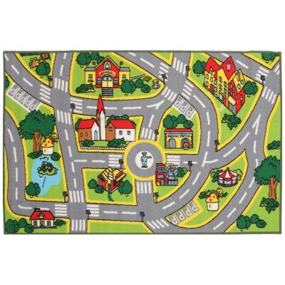 Town Centre Road Map Kids Rug, 133x200cm, Multi